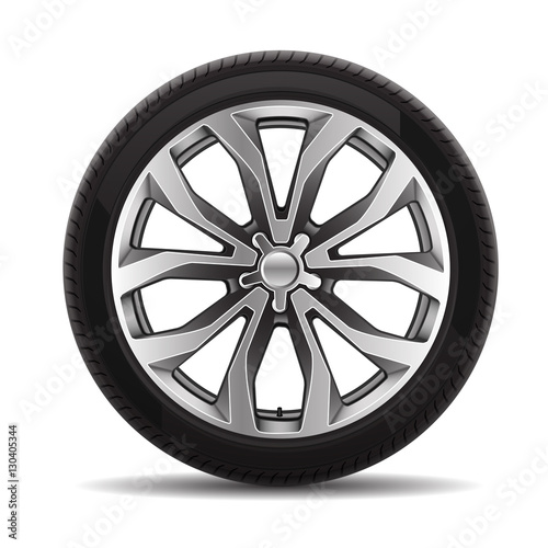 Fotografía  Car tire radial wheel metal alloy on isolated background vector illustration
