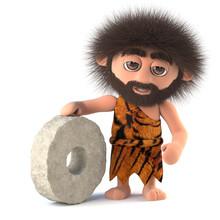 3d Funny Caveman Invents The Wheel