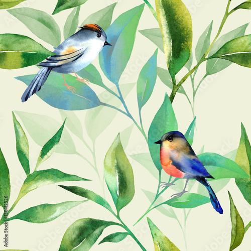 wzor-z-lisci-herbaty-i-ptaki-w-stylu-przypominajacym-akwarele-elementy-do-malowania-recznego-jasne-tlo