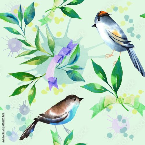 wzor-z-lisci-herbaty-i-ptaki-w-stylu-przypominajacym-akwarele-elementy-do-malowania-recznego-streszczenie-blots-tlo