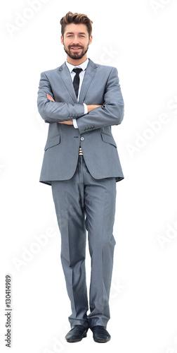 Fotografie, Obraz  portrait of happy smiling business man, isolated on white background