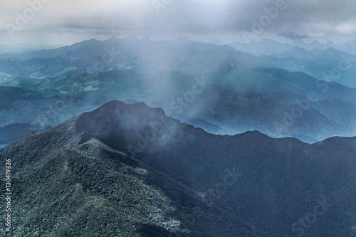 Photo sur Toile Montagne Aerial Landscape Scene from Window Plane