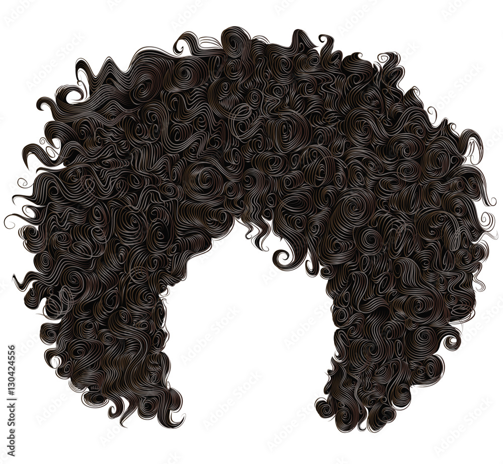 Fototapeta trendy curly  african black  hair  . realistic  3d . fashion beauty style .