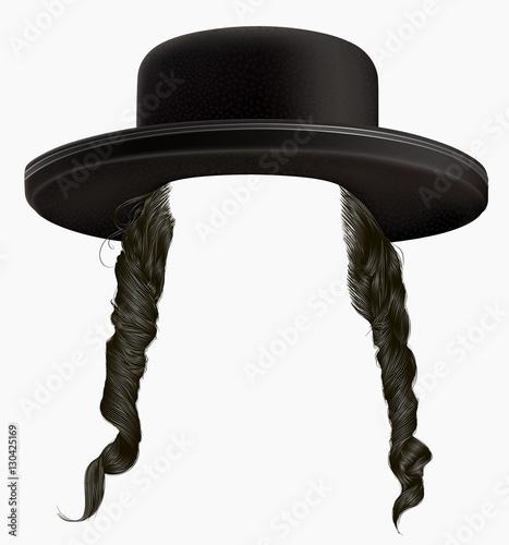 Fototapeta black  hair sidelocks . mask wig jew hassid in hat . obraz