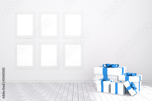 3D rendering : illustration of six white picture frame hanging.white ...