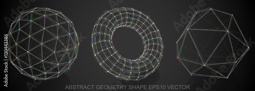 fototapeta na szkło Set of Abstract geometry shape: sketched Geosphere, Torus, Octahedron. Hand drawn 3D polygonal objects. EPS 10, vector.