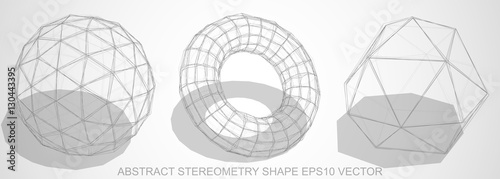 fototapeta na lodówkę Set of Abstract stereometry shape: sketched Geosphere, Torus, Octahedron. Hand drawn 3D polygonal objects. EPS 10, vector.