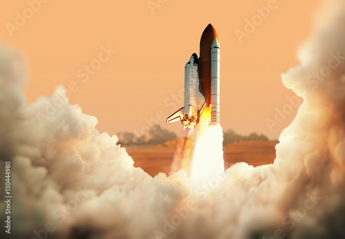 Fotografie, Obraz  Spacecraft takes off into space. Rocket on the planet Mars