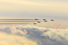 Red Arrows, Royal Air Force Aerobatic Display Team, With Colourful Sky