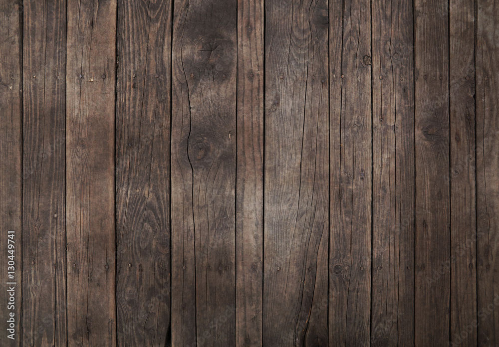 Fototapety, obrazy: Old vintage dark brown wooden planks background