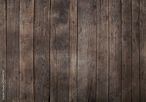 Fotografie, Obraz  Old vintage dark brown wooden planks background