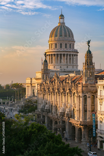 The National Capitol building (El Capitolio), lit by the golden morning sun in Havana, Cuba, West Indies, Caribbean, Central America