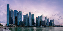 Skyscrapes Line Marina Bay At Dusk, Singapore