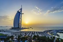 Burj Al Arab, Jumeirah Beach At Sunset, Dubai