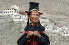 A Nubra Woman Wears Traditional Dress To Attend A Gathering At A Local Monastery In The Nubra Valley, Ladakh
