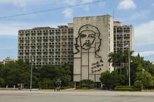 A Metal Mural Of Che Guevara On The Side Of A Government Building, Plaza De La Revolucion (Revolution Square), Havana, Cuba