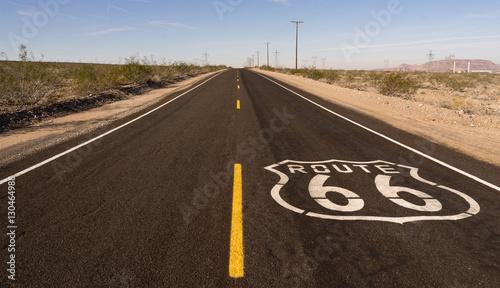 Foto op Plexiglas Route 66 Rural Route 66 Two Lane Historic Highway Cracked Asphalt