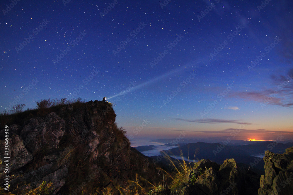 Fototapety, obrazy: Beautiful scenery of the starry sky at night at Doi Pha Phung at Nan province in Thailand. Long exposure shooting and high iso used make this photo have noise