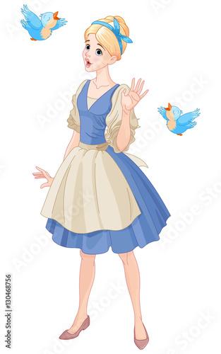 Cinderella Singing with Birds Фотошпалери