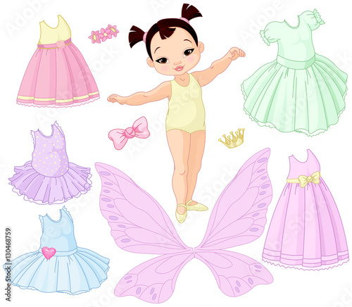 Printed kitchen splashbacks Fairytale World Baby Girl with Different Fairy, Ballet and Princess Dresses