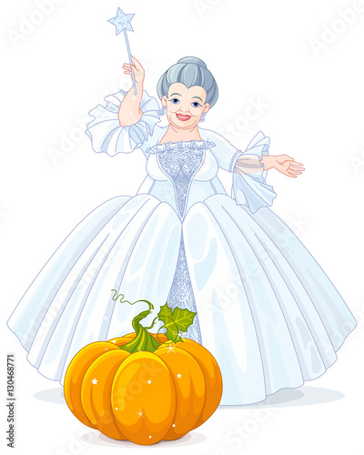 Tuinposter Sprookjeswereld Fairy Godmother Making Magic Pumpkin Carriage