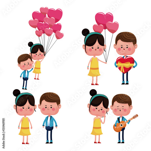 Stampe  collection couples love funny happy vector illustration eps 10