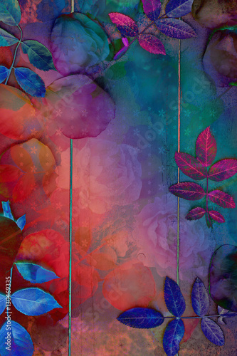 Fotografía  Beautiful artistic background with romantic roses petals and leaves