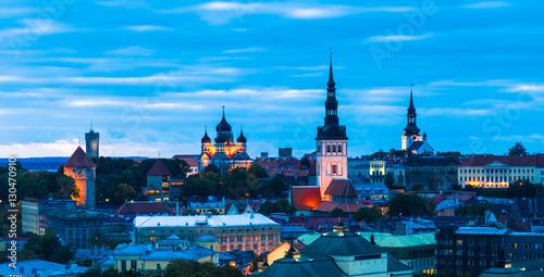 Garden Poster Berlin Night Panorama of Tallin, Estonia