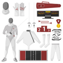 Fencing Sport Equipment Vector...