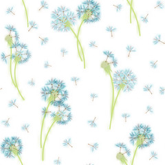 Panel Szklany Dmuchawce Watercolor imitation, hand drawn seamless pattern with spring tender flowers - dandelions and seeds on the white background