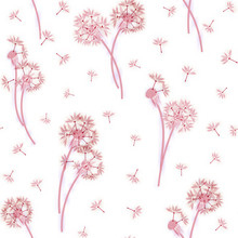Watercolor Imitation, Hand Drawn Seamless Pattern With Spring Tender Flowers - Dandelions And Seeds On The White Background