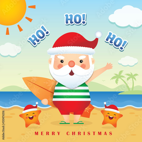 Merry christmas greetings of cute cartoon santa claus wearing tank merry christmas greetings of cute cartoon santa claus wearing tank top short pants slippers m4hsunfo