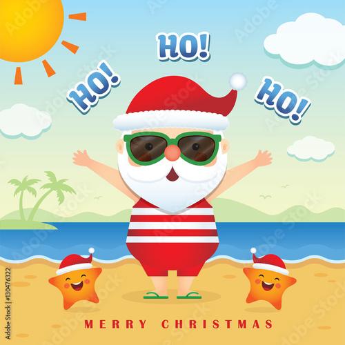 Merry christmas greetings of cute cartoon santa claus wearing merry christmas greetings of cute cartoon santa claus wearing sunglasses tank top short pants m4hsunfo