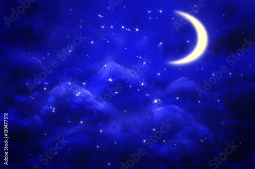 Garden Poster Heaven Night sky background with half moon, clouds and stars.