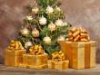 Christmas gift box and green xmas tree
