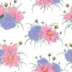 Seamless pattern with pink chamomile and  geranium flowers. Rustic floral design for wedding invitations and birthday cards. Vintage vector illustration in watercolor style.