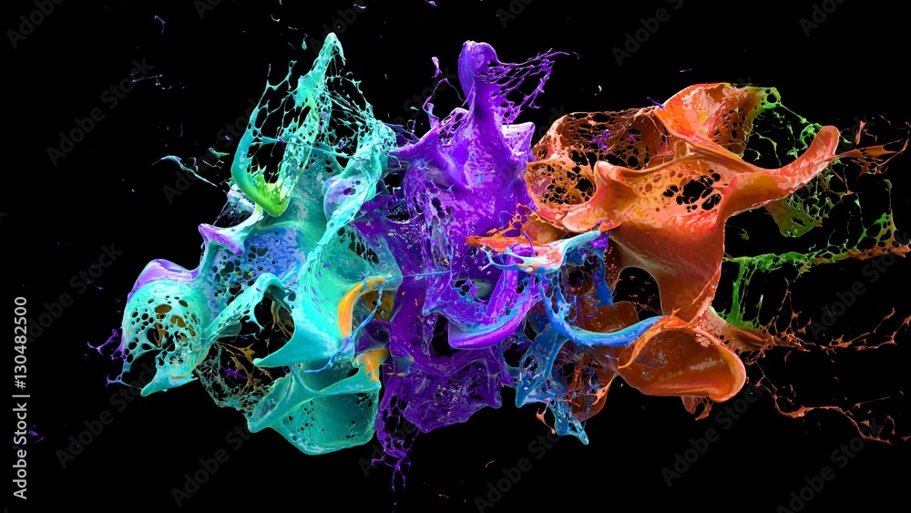 Fototapety, obrazy: liquid explosion on black 3d illustration