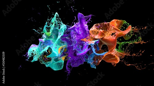 liquid explosion on black 3d illustration