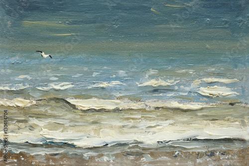 Plakat malarstwo olej na płótnie - Morze po burzy pieniące się fale i mewy nad wodą.