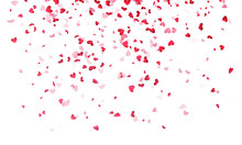 Hearts Background, Valentine Day Falling Heart Pink Confetti