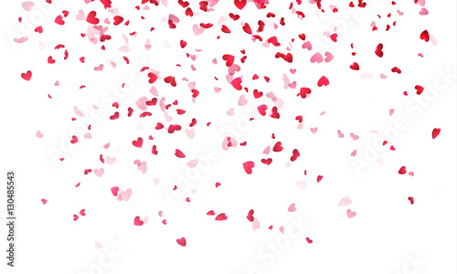 Fotografie, Obraz  Hearts background, Valentine Day falling heart pink confetti