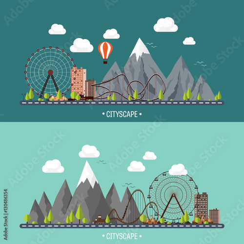 vector illustration ferris wheel carnival funfair background