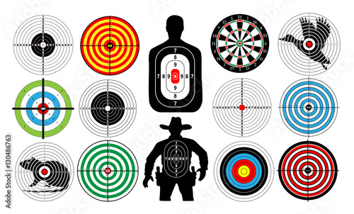 Fotografía  Big set of targets isolated animals people cowboy man