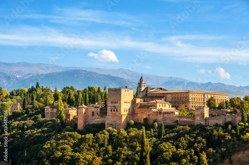 Fotografía  Granada, Spain. Aerial view of Alhambra Palace