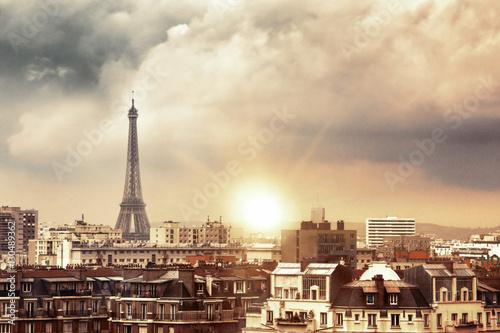 Papiers peints Paris Eiffel tower and Paris city view form the roof. Eiffel Tower from Champ de Mars, Paris, France. Beautiful Romantic background.