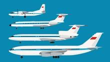 Set Of Retro USSR Civil Planes Series