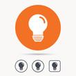 Light bulb icon. Lamp sign. Illumination technology symbol. Orange circle button with web icon. Star and square design. Vector