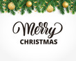 Greeting card with fir tree garland, ornaments and Merry Christmas text.