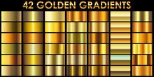 Set Of 42 Golden Color Illustr...