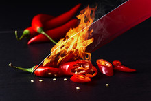 Knife And Red Chilli Pepper